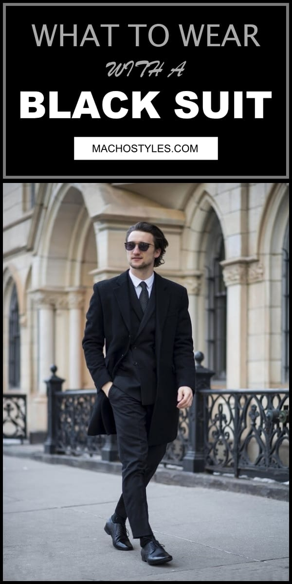 what to wear with black suit